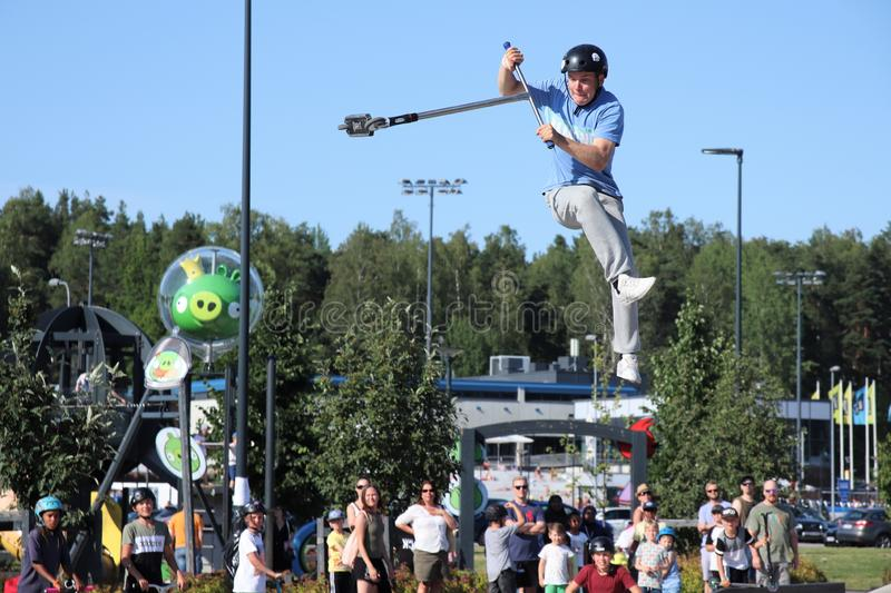 Competitor performing in National Scooter Championships 2019,  Pro-series. FinScooter Summer Jam sport event was held in Leppaevaara skate park in Espoo, Finland stock images