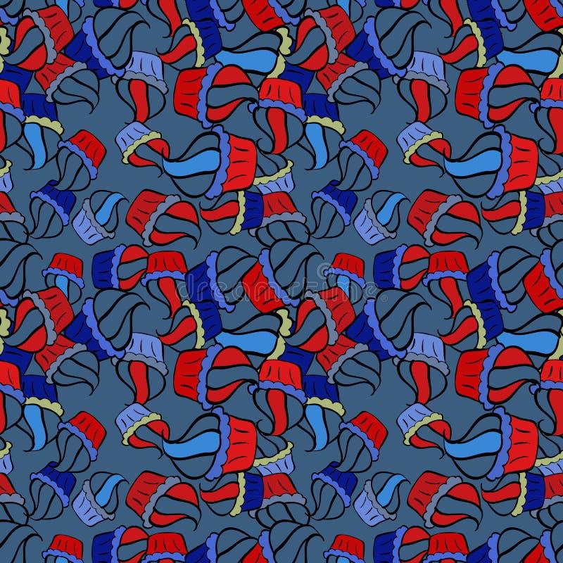 Fint födelsedagsmönster på röd, svart och blå vektor illustrationer