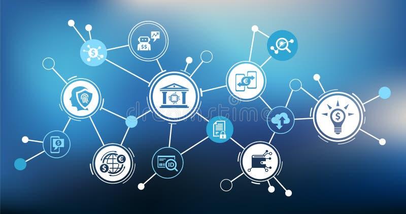 Fintech概念:创新金融服务/新技术在财务–传染媒介例证 皇族释放例证