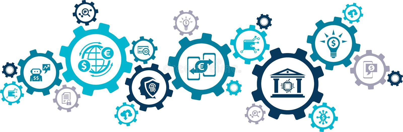 Fintech概念:创新金融服务/新技术在财务–传染媒介例证 向量例证