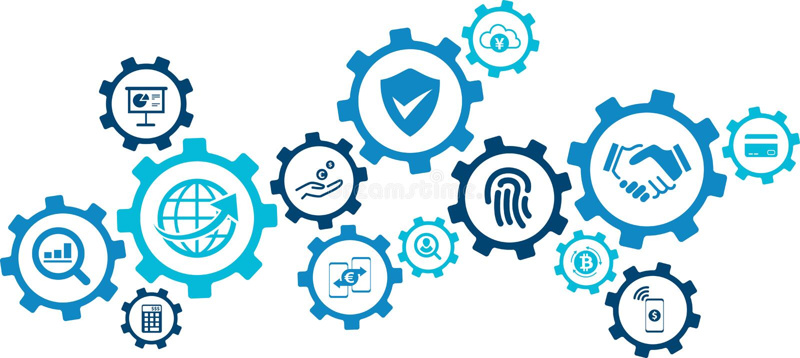 "Fintech概念:创新金融服务/新技术在财务†""传染媒介例证 向量例证"