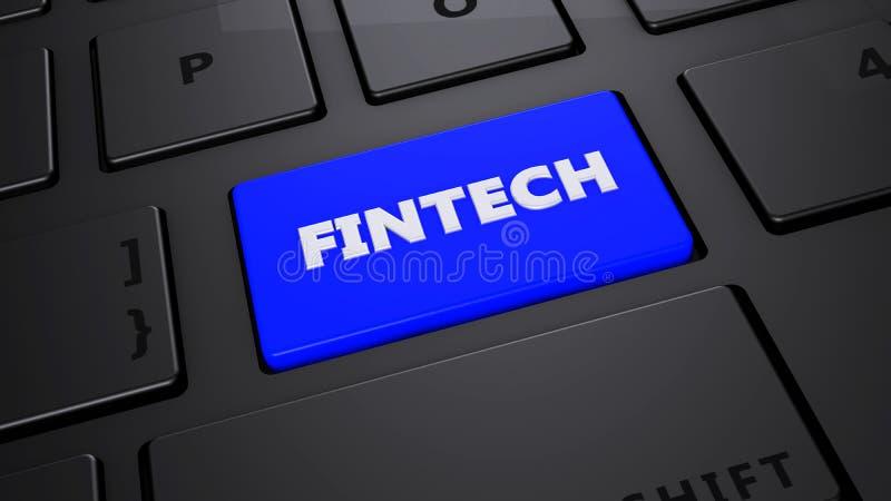 Fintech蓝色键盘按钮 向量例证