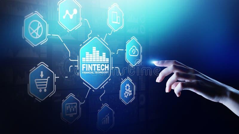 Fintech财政技术Cryptocurrency投资和数字金钱 在虚屏上的企业概念 免版税库存照片