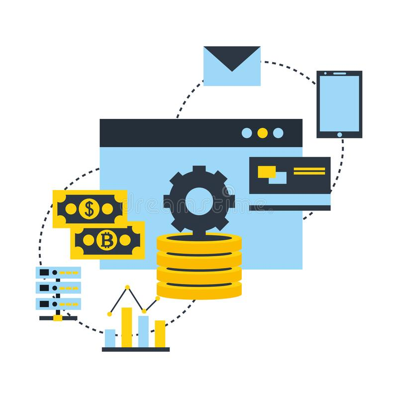 Fintech连接bitcoin金钱数据万一银行卡智能手机 向量例证