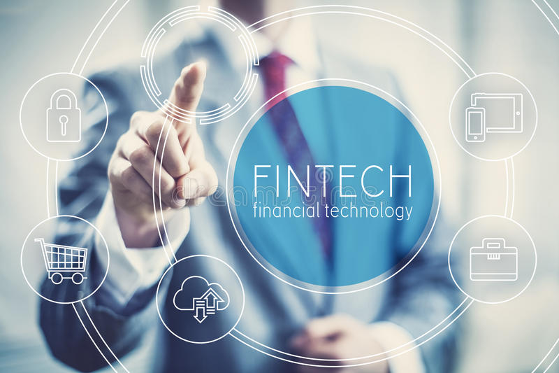 Fintech μελλοντική επιχείρηση τεχνολογίας έννοιας οικονομική στοκ εικόνα