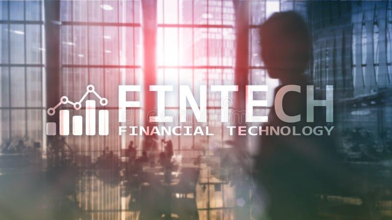 FINTECH - Οικονομική τεχνολογία, παγκόσμιες επιχειρηματικό πεδίο και τεχνολογία επικοινωνιών Διαδικτύου πληροφοριών Υπόβαθρο ουρα απεικόνιση αποθεμάτων