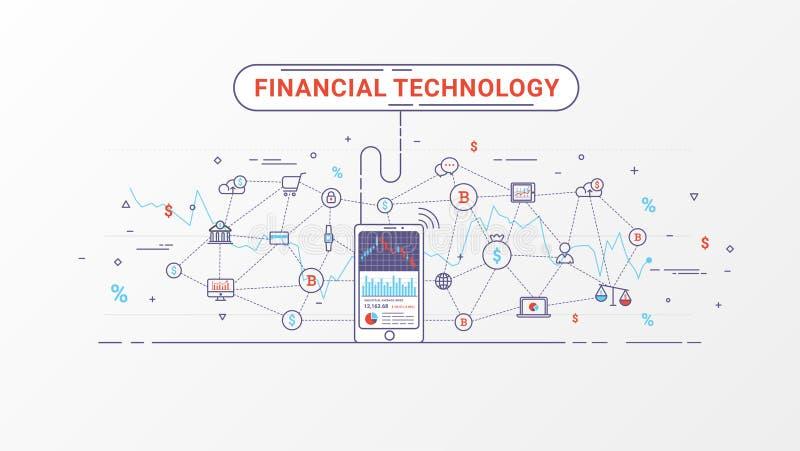 Fintech - финансовые технология и капиталовложения предприятий Финансовый обмен и торгуя идея проекта бесплатная иллюстрация