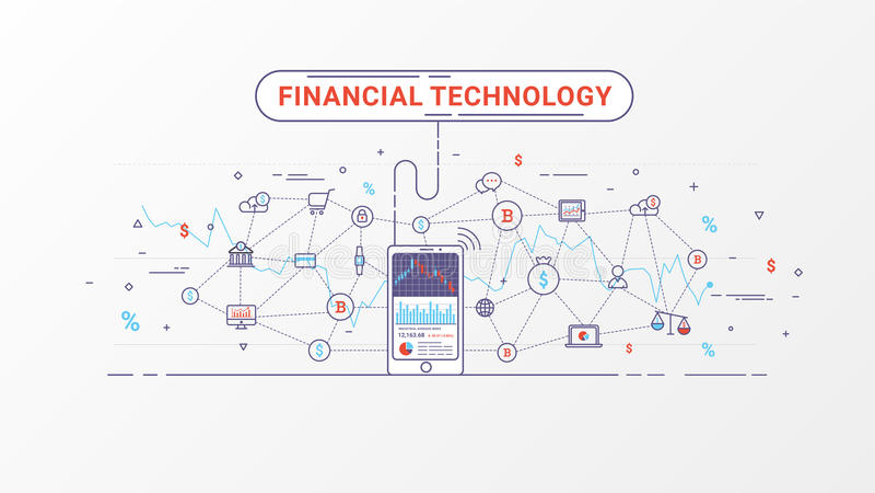 Fintech -财政技术和商业投资 财政交换和贸易的设计观念 皇族释放例证