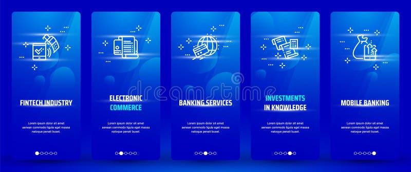 Fintech bransch, elektronisk kommers, bankrörelseservice, investeringar i kunskap, vertikala kort för mobila bankrörelsen med stock illustrationer