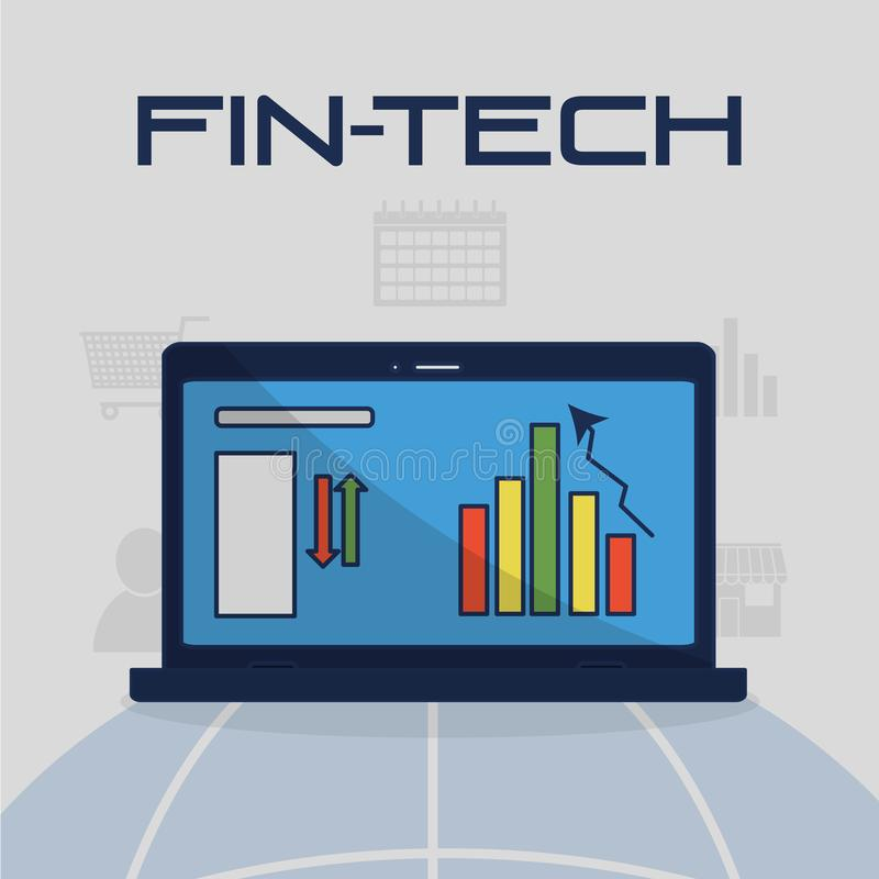 Fintech branschdesign vektor illustrationer