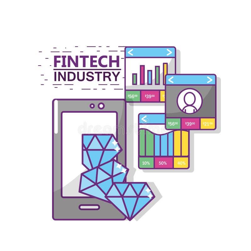 Fintech branschdesign stock illustrationer