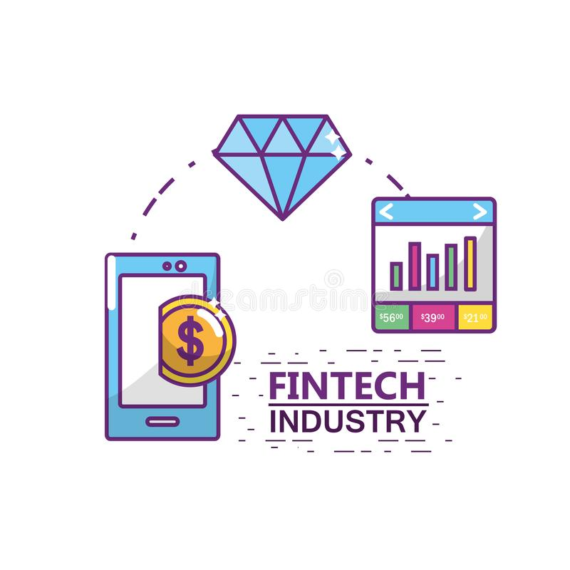 Fintech branschdesign royaltyfri illustrationer