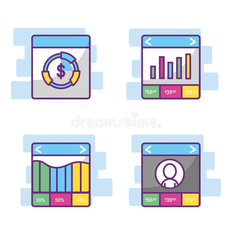 Fintech branschdesign stock illustrationer