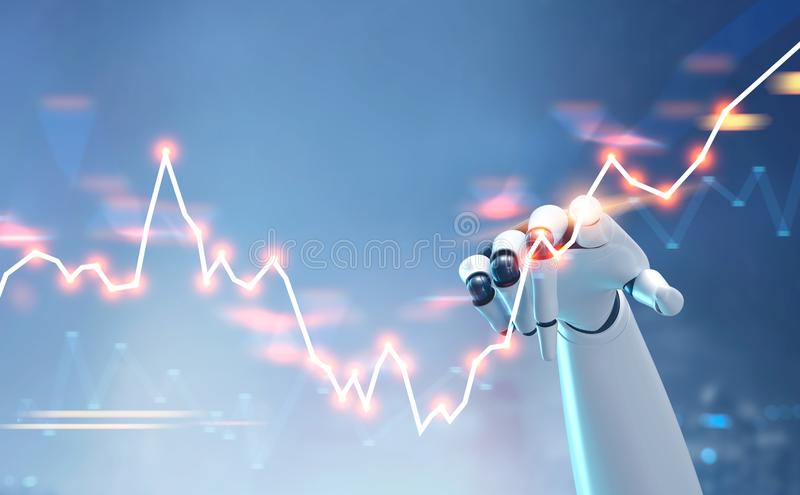 Fintech commovente dell'interfaccia del grafico dei forex della mano del robot illustrati 3d illustrazione di stock