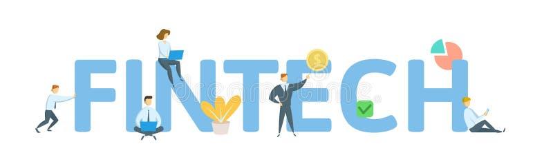 Fintech Concept avec des mots-clés, des lettres, et des icônes Illustration plate de vecteur D'isolement sur le fond blanc illustration stock