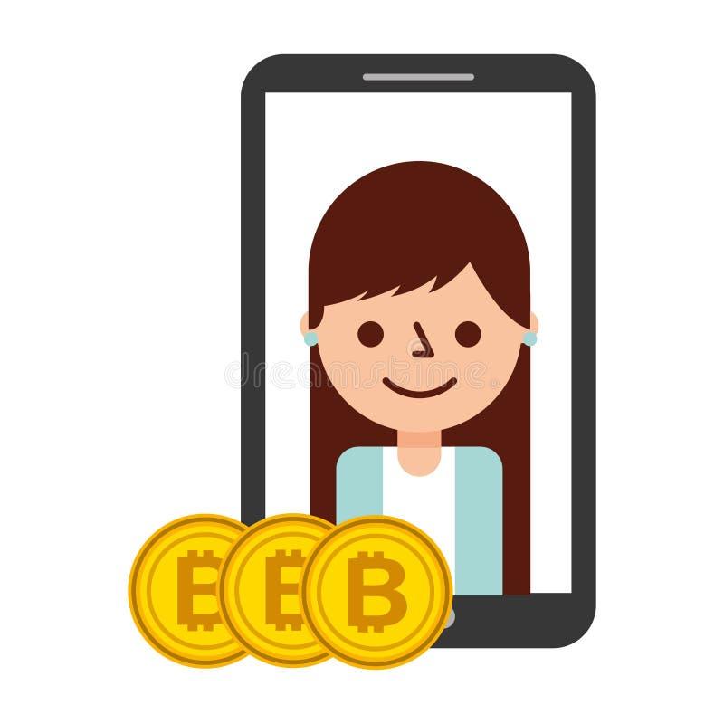 Fintech cryptocurrency bitcoins женщины смартфона бесплатная иллюстрация