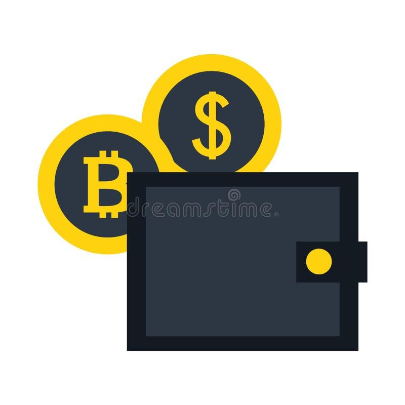 Fintech de bitcoin du dollar de pièces de monnaie de portefeuille illustration de vecteur