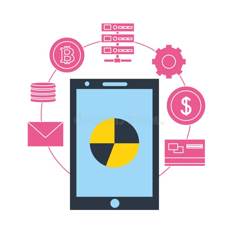 Fintech f?r bitcoin f?r lagring f?r data f?r diagram f?r Smartphone statistikpaj royaltyfri illustrationer