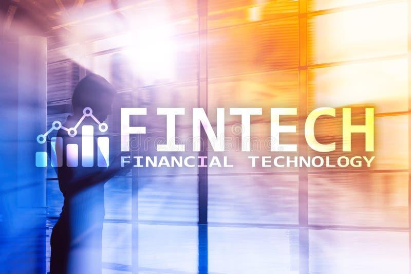 FINTECH - Financiële technologie, de globale zaken en communicatietechnologie van informatieinternet Wolkenkrabbers royalty-vrije stock afbeelding