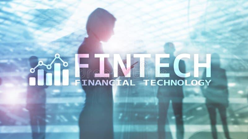 FINTECH - Financiële technologie, de globale zaken en communicatietechnologie van informatieinternet Wolkenkrabbers stock foto