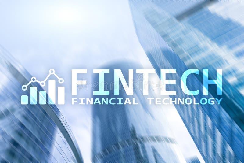 FINTECH - Financiële technologie, de globale zaken en communicatietechnologie van informatieinternet Wolkenkrabbers stock afbeeldingen