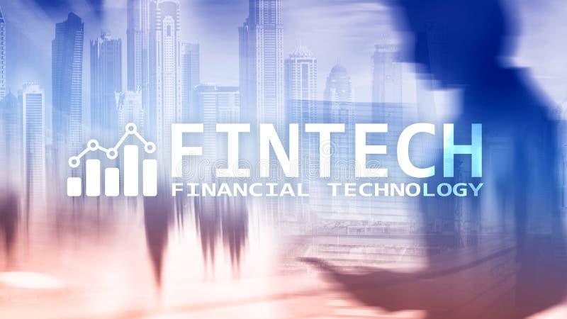 FINTECH - Financiële technologie, de globale zaken en communicatietechnologie van informatieinternet Wolkenkrabbersachtergrond Hi royalty-vrije stock foto