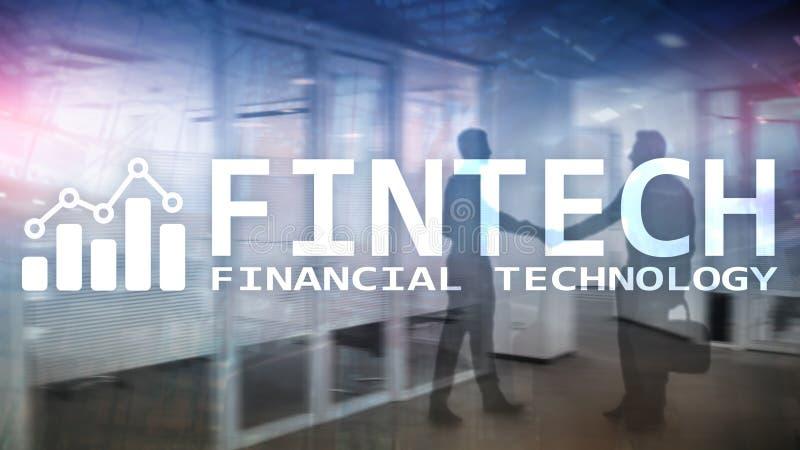 FINTECH - Financiële technologie, de globale zaken en communicatietechnologie van informatieinternet Wolkenkrabbersachtergrond Hi royalty-vrije stock afbeeldingen