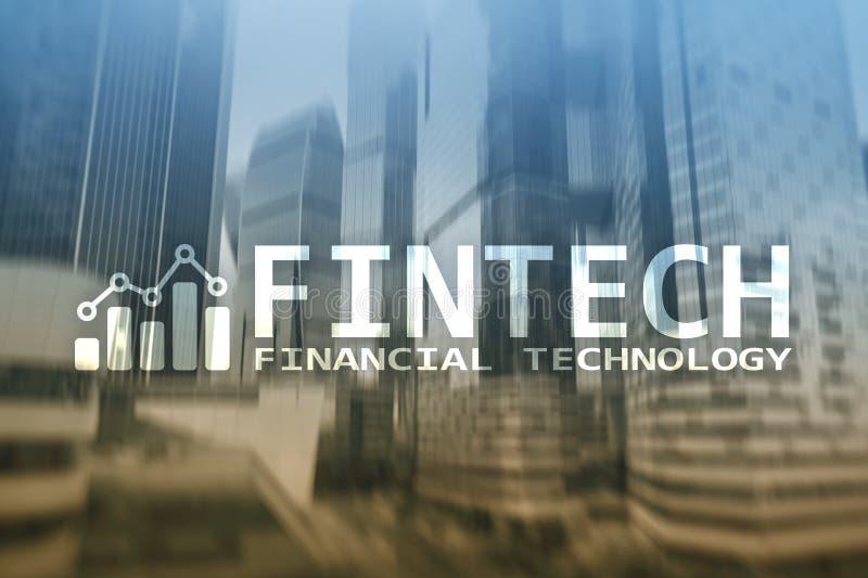FINTECH - Financiële technologie, de globale zaken en communicatietechnologie van informatieinternet Wolkenkrabbersachtergrond Hi stock afbeeldingen