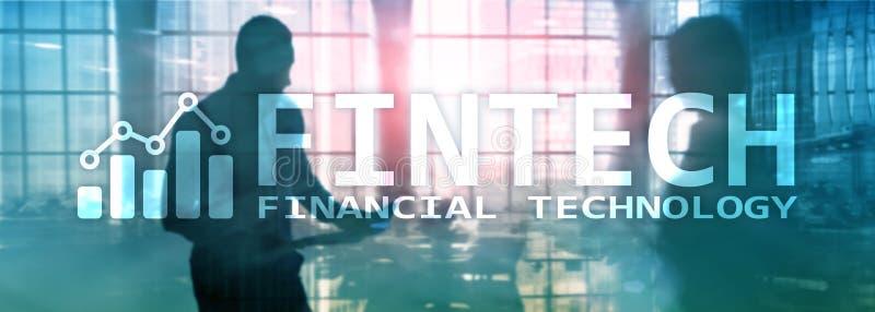 FINTECH - Financi?le technologie, de globale zaken en communicatietechnologie van informatieinternet Bedrijfs banner stock afbeeldingen