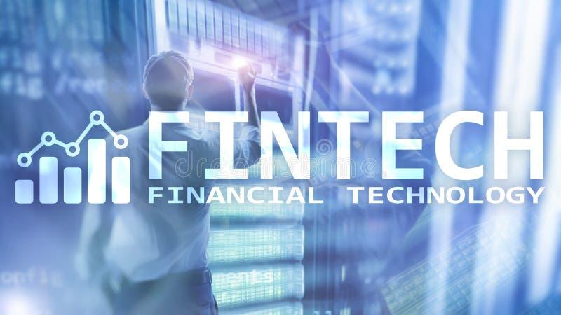 FINTECH - Financi?le technologie, de globale zaken en communicatietechnologie van informatieinternet Wolkenkrabbers royalty-vrije stock afbeelding