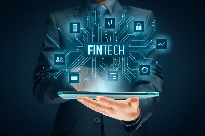 Fintech and financial technology royalty free stock image
