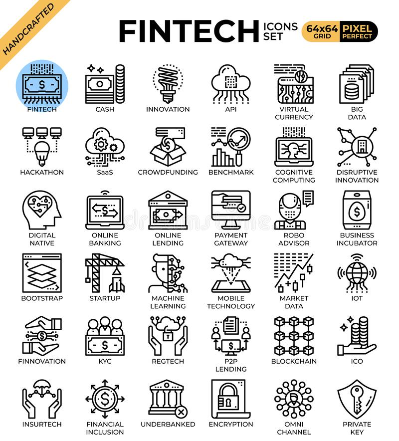 Fintech Financial Technology concept icons. Set in modern line icon style for ui, ux, web, mobile app design, etc royalty free illustration