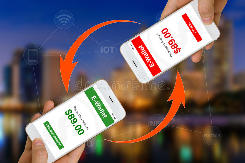 Fintech or Financial Technology Concept Illustrated by Using Smartphone and E-Wallet App to Make Payment or Transfer Money royalty free stock photos