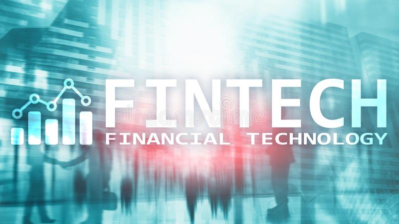 FINTECH - Financial technology, global business and information Internet communication technology. Skyscrapers royalty free stock photography