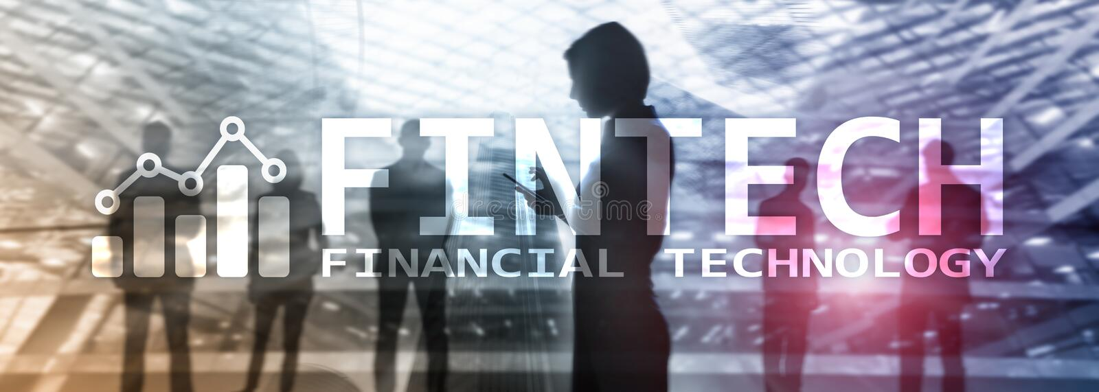 FINTECH - Financial technology, global business and information Internet communication technology. Skyscrapers background. Hi-tech stock images