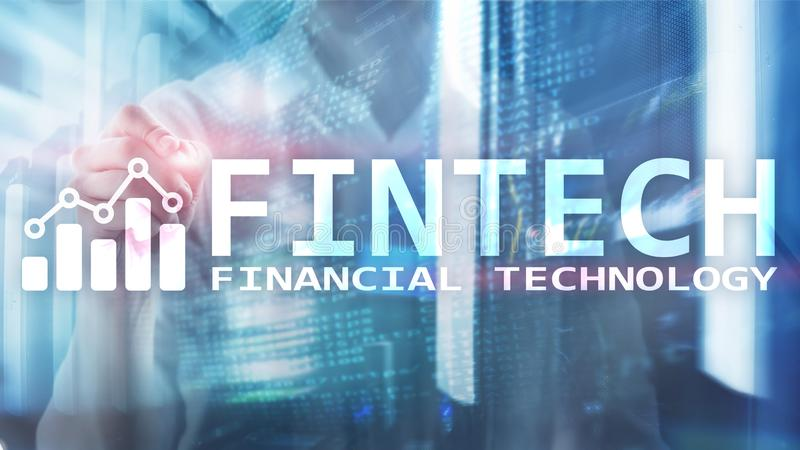 FINTECH - Financial technology, global business and information Internet communication technology. Skyscrapers background. Hi-tech royalty free stock photos