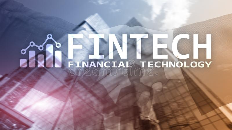 FINTECH - Financial technology, global business and information Internet communication technology. Skyscrapers royalty free stock photos