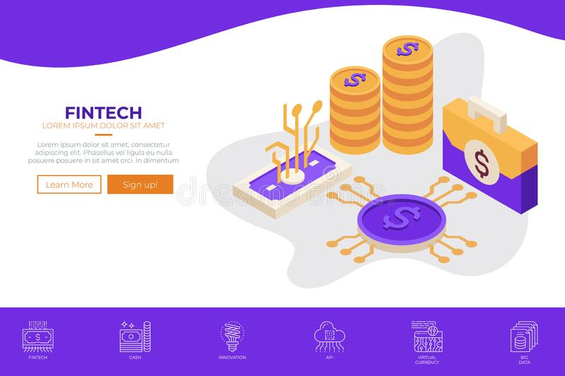 Fintech Financial Technology web design template. For landing page, website banner or print illustration stock illustration