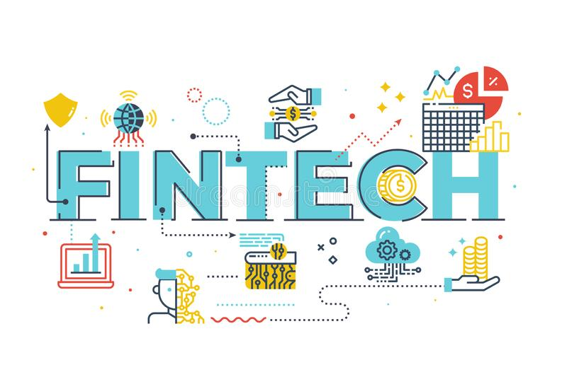 Fintech Financial Technology word lettering illustration. With icons for web banner, flyer, landing page, presentation, book cover, article, etc royalty free illustration