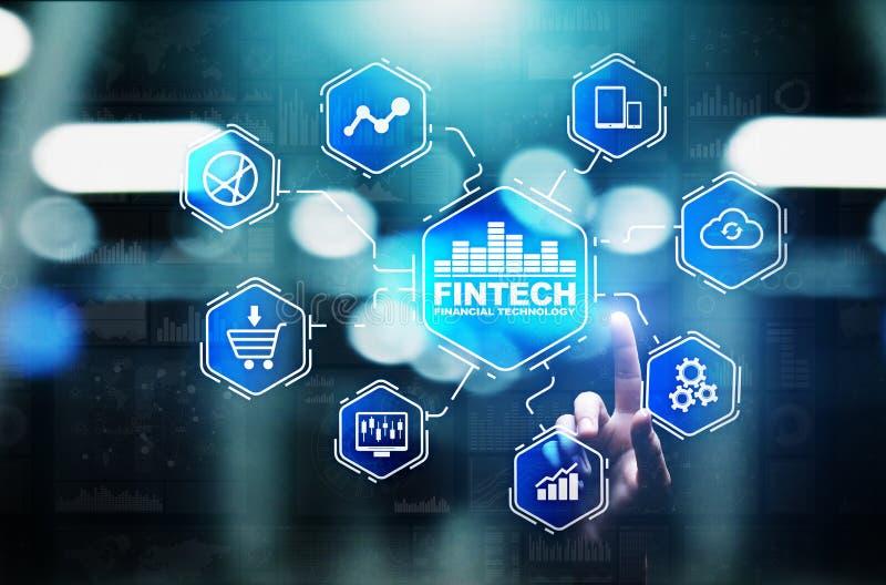 Fintech finansiell teknologiCryptocurrency investering och digitala pengar Affärsidé på den faktiska skärmen vektor illustrationer