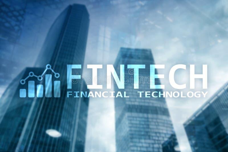 FINTECH - Finanztechnologie, globales Geschäft und Informationen Internet-Kommunikationstechnologie Wolkenkratzerhintergrund High stockfotografie