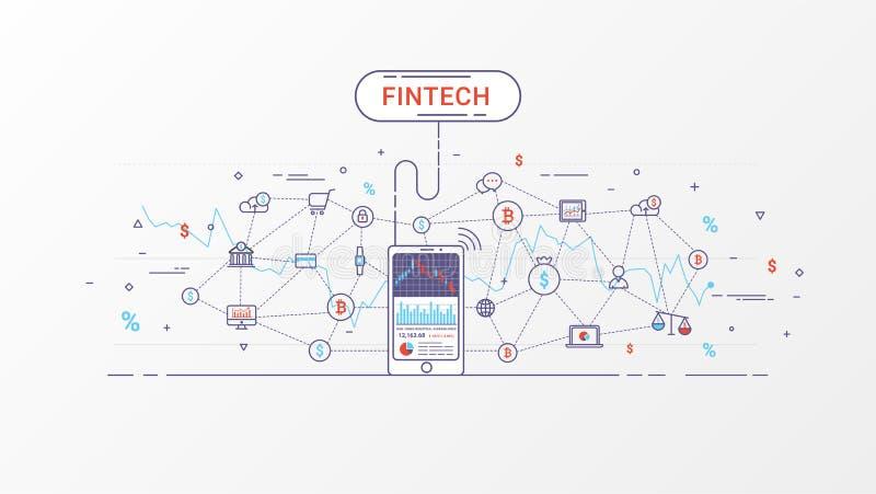 Fintech i Blockchain technologii informaci grafika ilustracji