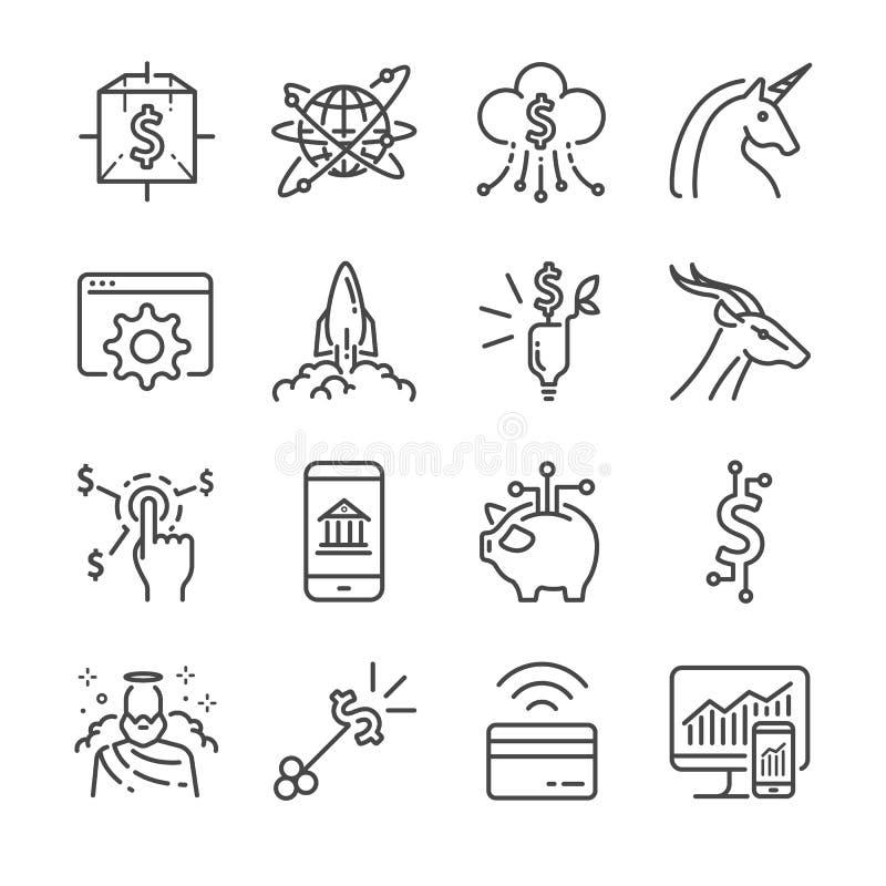 Fintech i Początkowy wektor linii ikony set Zawrzeć ikony jako jednorożec, fintech, finansowy app, cryptocurrency i więcej, royalty ilustracja