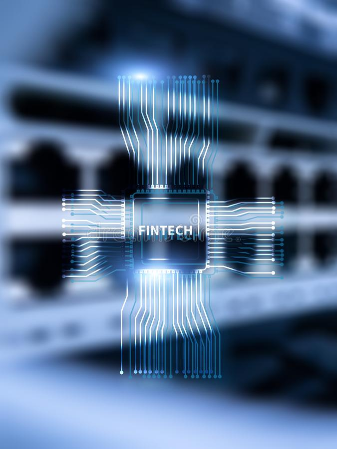 Fintech icon on abstract financial technology background. Cpu icon on server room data center blurred background.  royalty free illustration