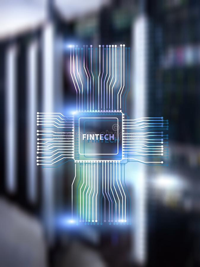 Fintech icon on abstract financial technology background. Cpu icon on server room data center blurred background.  vector illustration