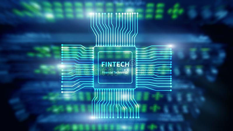 Fintech icon on abstract financial technology background. Cpu icon on server room data center blurred background stock images