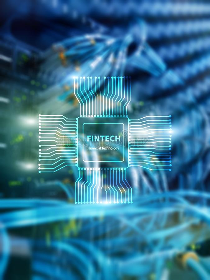 Fintech icon on abstract financial technology background. Cpu icon on server room data center blurred background stock image