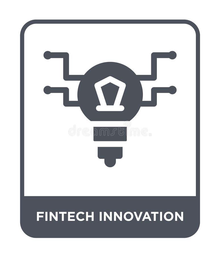 fintech innovatiepictogram in in ontwerpstijl fintech innovatiepictogram op witte achtergrond wordt geïsoleerd die fintech innova stock illustratie