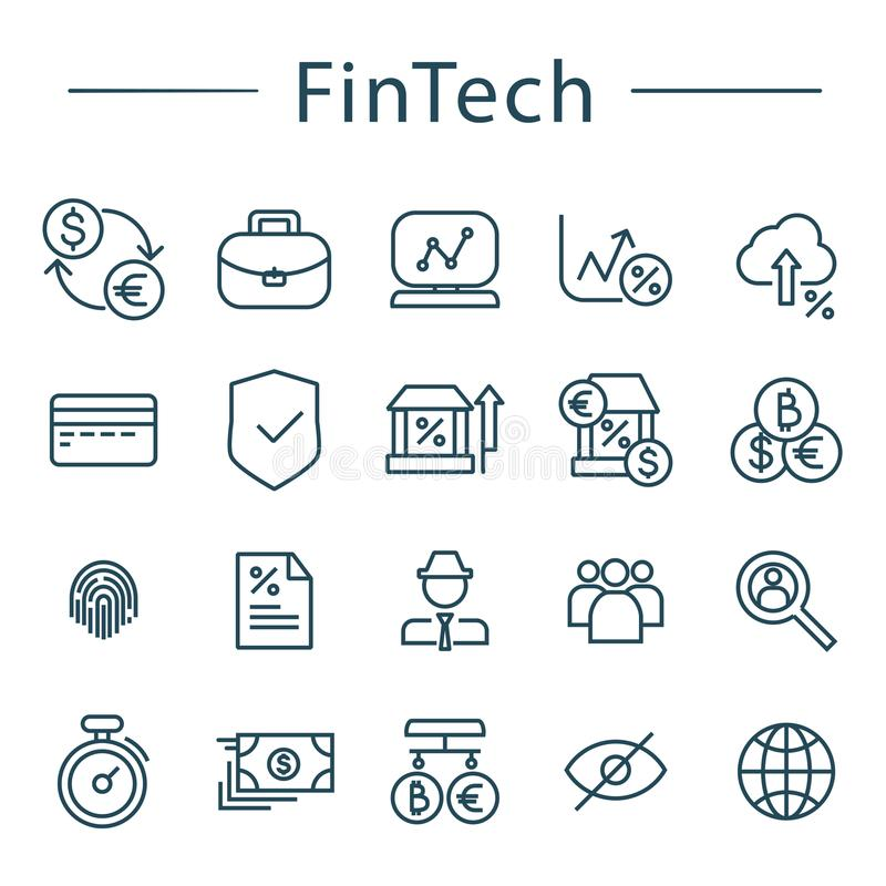 fintech line icons set vector illustration for online Facebook Briefcase Icon Vector Honor Vector Icons