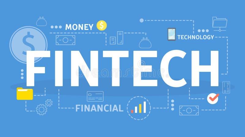 Fintech oder Finanztechnologiekonzept Idee der Innovation lizenzfreie abbildung